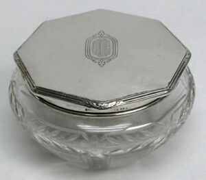 William B Kerr Deco Sterling Silver Crystal Powder Jar