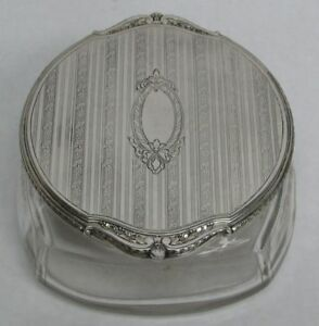 Vintage Blackinton Co Sterling Silver Crystal Powder Jar