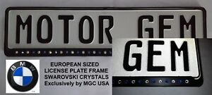 Euro European License Plate Frame Black Bmw Logo Colored Swarovski Crystals Mgc