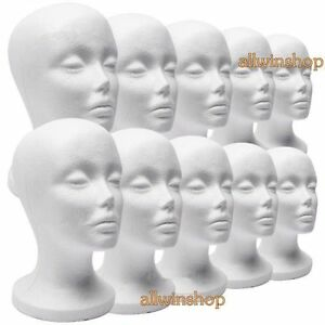 10 X Female Styrofoam Mannequin Manikin Head Model Foam Wig Hair Glasses
