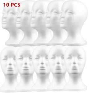 10x Female Styrofoam Mannequin Manikin Head Model Foam Wig Hair Glass Display