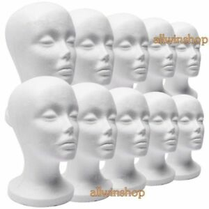 10 X Female Styrofoam Mannequin Manikin Head Model Foam Wig Hair Glasses Displ