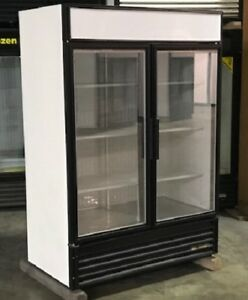 Used True Two Glass Door Freezer Merchandiser Led Lighting