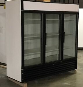 Used True Three Glass Door Freezer Merchandiser Led Lighting