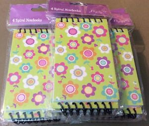 Lot Of 7 4 Spiral Per Package Colorful Mini Spiral Notebooks Floral New
