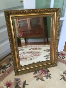 Antique Victorian Wood And Gesso Gold Gilt Wall Mirror