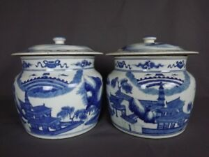 Pair Antique Chinese Blue White Porcelain Covered Jars Qing Kangxi 19th C