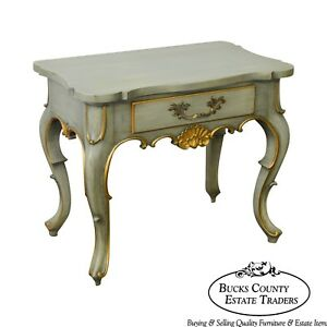 Karges French Louis Xv Style Painted Partial Gilt 1 Drawer Nightstand Side Table