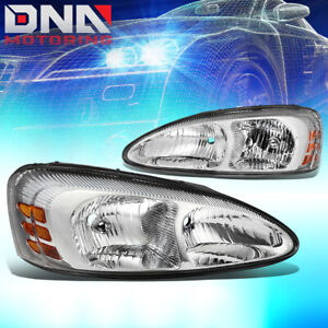 For 2004 2008 Pontiac Grand Prix Pair Chrome Amber Headlight lamps Replacement