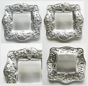 Pair Set Of 2 Gorham Sterling Silver Butter Pats 232 Square Tray Dish Plate