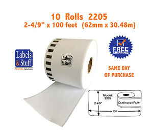 10 Rolls Of Dk 2205 Brother compatible Continuous Labels Dk 2205