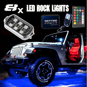 8 Pods Rgb Led Rock Lights Kit For Car Jeep Off Road Truck Boat Accessories