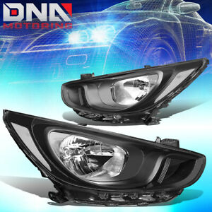 For 2012 2014 Hyundai Accent Pair Black Housing Clear Side Headlight lamps Set