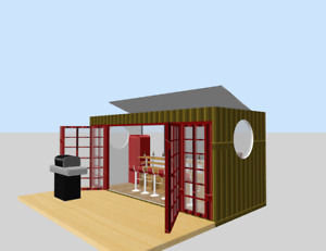 Prefab Home Container Minibar Mancave Backyard Shed House Hotel Cabin 16ft 120sf