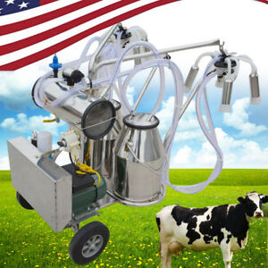 Portable Double Tank Milker Electric Vacuum Pump Milking Machine Ss For Cows usa