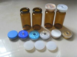 100 Sets 10ml Amber Glass Vials With Stopper Flip Off Seals 100 New Empty