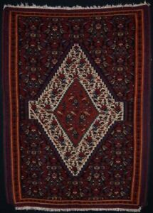 Old Senneh Kilim Traditional Design Small Size About 40yrs Old