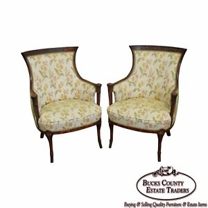 Regency Style Pair Of 1940s Mahogany Frame Fire Side Host Chairs