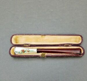 Antique Enamel Guilloche Cigarette Holder Edwardian Amber W Original Fitted Case