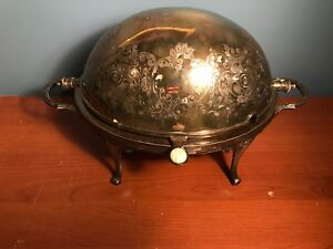 Antique Silver Soup Tureen Butter Dish Bowl W Rotating Top Ornate Epns