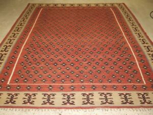 Old Turkish Sharkoy Kilim Large Size Great Boarder About 60 Years Old