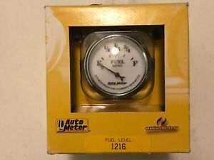 Auto Meter 2 1 16 Old Tyme White Ii Short Sweep Electric Fuel Level Gauge