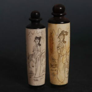 Chinese Culture Bone Snuff Bottle Handcrafted Carved Lady Portrait Figure