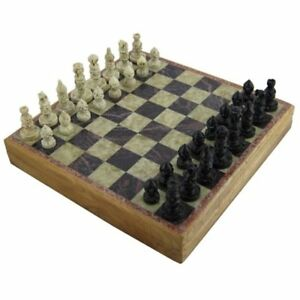 Marble Stone Wooden Chess Set Portable Hand Carved Art Unique Board New