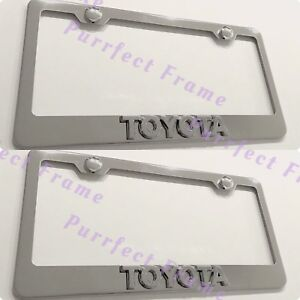 2x 3d Emblem Toyota Stainless Steel License Plate Frame Rust Free W cap
