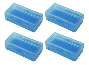 NEW MTM 50 Round Flip-Top 3809MM Cal Ammo Box - Clear Blue (4 Pack)