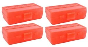 NEW MTM 50 Round Flip-Top 3809MM Cal Ammo Box - Clear Red (4 Pack)