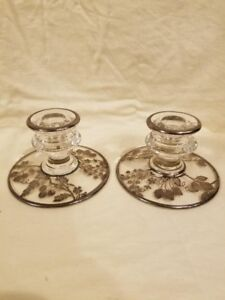 Antique Glass Sterling Silver Overlay Candlesticks Fruit And Flower Design 3