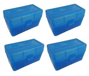 MTM 50 Round Flip-Top 270 Win 280 Rem 30-06 Rifle Ammo Box - Clear Blue (4 Pack)