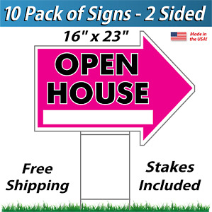 10x Open House Arrow Shaped Signs Stakes Corrugated Plastic 10 Pk Pink