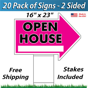20x Open House Arrow Shaped Signs Stakes Corrugated Plastic 20 Pk Pink
