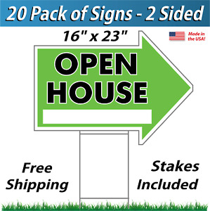 20x Open House Arrow Shaped Signs Stakes Corrugated Plastic 20 Pk Green