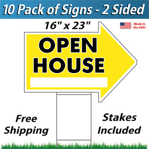 10x Open House Arrow Shaped Signs Stakes Corrugated Plastic 10 Pk Yellow