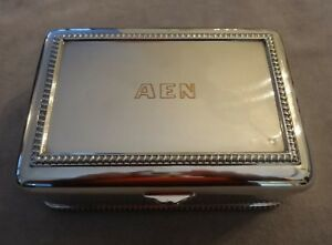 Vtg 1944 Solid Sterling Silver Footed Cigarette Box Rope Edging 618g Aen Monogrm