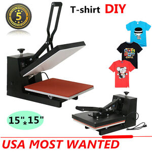 Digital Heat Press Transfer T shirt Hat Bag Clamshell Sublimation Machine 15x15