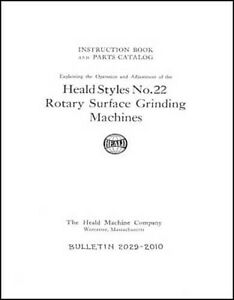 Heald No 22 Rotary Surface Grinding Machine Manual