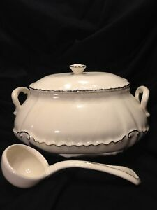 Vintage Soup Tureen Off White Silver Outline Edging With Ladle Complete