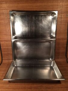 3 Vollrath Ss Stainless Steel Cooking Pan Shaffer Hotel Pan Heavy Duty Vintage