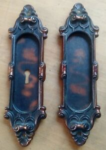 Pair Antique Pocket Door Hardware Yale Towne Meridian Pattern C1905 Japanned