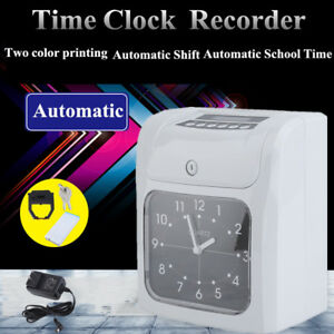 Employee Punch Machine Time Clock Recorder Bundle With Cards Card Rack Ribbon Tb