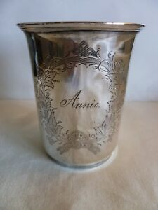 Antique Mid 19th Century 13 Loth Silver Cup Engraved W Cartouche