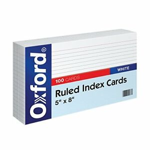 Oxford Ruled Index Cards 5 X 8 White 100 pack New