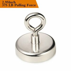 375 Lbs Strong Pulling Force Neodymium Fishing Magnet Countersunk Hole Eyebolt