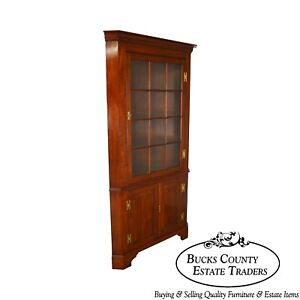 Henkel Harris Solid Cherry Large Chippendale Style Corner Cabinet