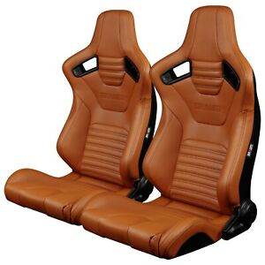 Braum British Tan Leatherette Elite X Racing Seats W Black Stitches Pair