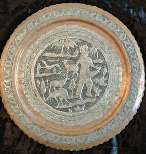 Vintage Persian Copper Ornamental Hand Etched Tray Art Ghalamzani